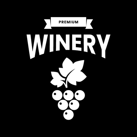 Modern wine vector logo sign for tavern, restaurant, house, shop, store, club and cellar isolated on black background. Premium quality vinery logotype illustration. Fashion brand badge design template.