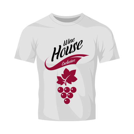 Modern wine vector logo sign for tavern, restaurant, house, shop, store, club and cellar isolated on white t-shirt mock up. Premium quality vinery logotype illustration. Fashion badge design template. 일러스트