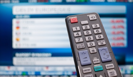 changing channels: TV remote control