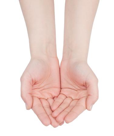 Hohle Hände zusammen auf weißem