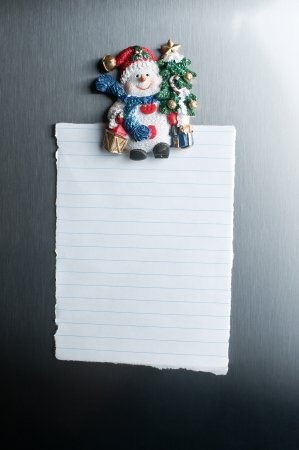 Christmas blank note on the fridge  photo