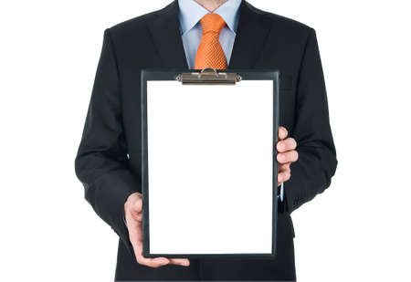 businessman holding blank clipboard isolated on white background