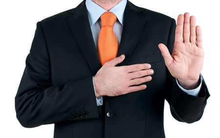 young businessman oath Truth on white background