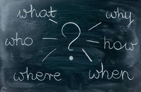 questions on a blackboard Stock Photo - 12658356