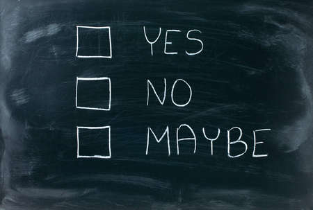 Yes, no and maybe check boxes on blackboard  Stock Photo - 12658355