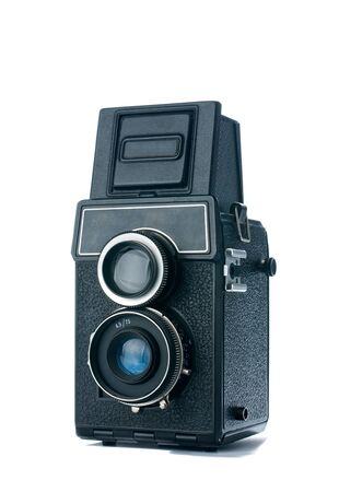 old,vintage camera with two lenses on a white background  photo