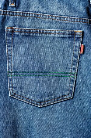 blue jeans pocket in close up