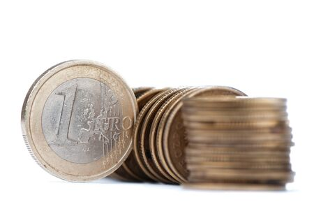 Line of One euro coin, isolated on the white background Stock Photo