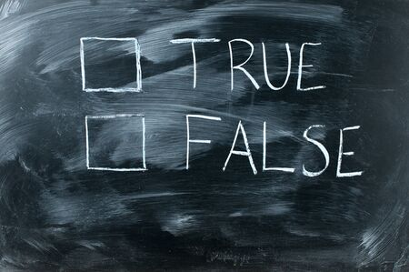 true Or false on black chalkboard,white handwriting on blackboard Stock Photo - 13005640