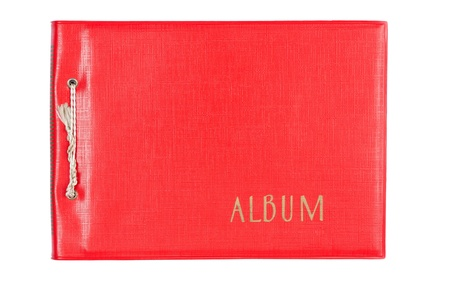 photo album book: Very old Photo album red leather on white background