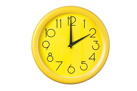 yellow wall: yellow clock on a white background Stock Photo