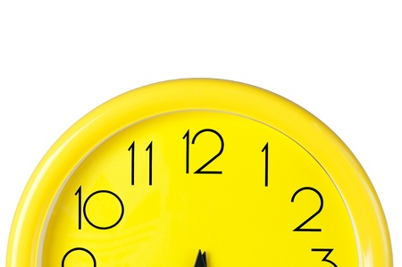 wall watch: yellow clock on a white background,place for your own text, picture