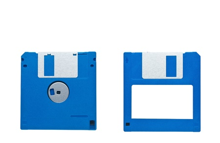 Magnetic floppy disc for a computer on a white background photo