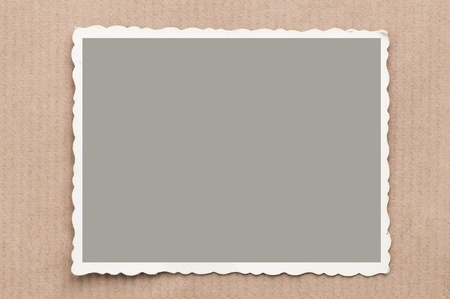 old, blank picture on gray cardboard background Stock Photo