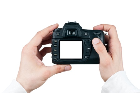 Digital camera in man hand, Taking photo isolated on white, clipping path