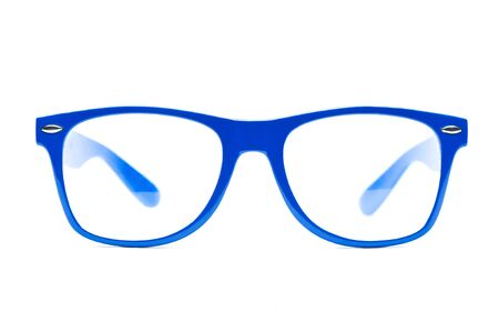 blue nerd Glasses on white background , place for text, picture photo