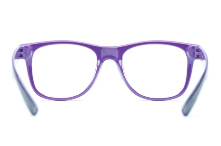 bifocals: violet nerd Glasses on white background, place for text, picture