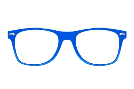 spectacle: blue nerd Glasses on white background , place for text, picture