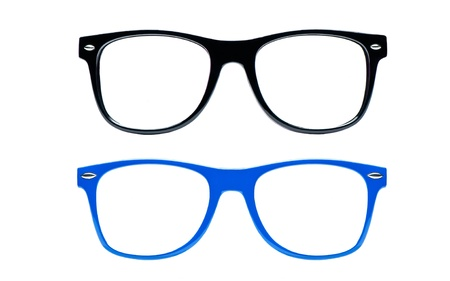 bifocals: two nerd Glasses on white background with place for text picture
