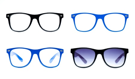 spectacle: four nerd Glasses on white background with place for text picture