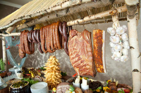 dry provisions: Many smoked tasty sausages