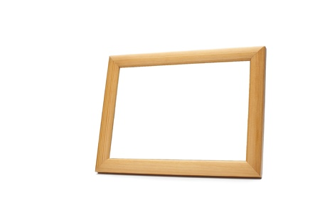 Blank wood picture frame on white background  photo