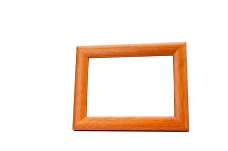 Blank wood picture frame on white background with clipping path photo