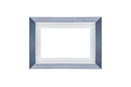 Blank silver picture frame on white background with clipping path