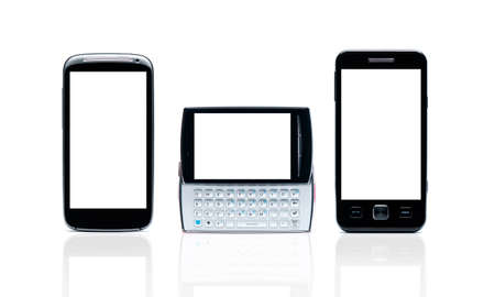 Set of Smart phones with blank isolated on white background with clipping path Stock Photo - 16864452