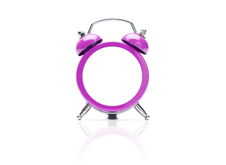 violet, old style alarm clock, isolated on the white background with clipping path.