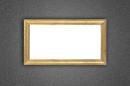 Gold picture frame at the metal wall with clipping path photo