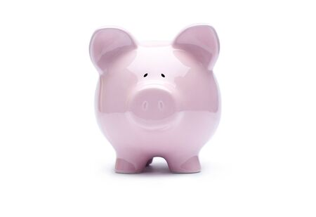 Piggy bank on white background photo