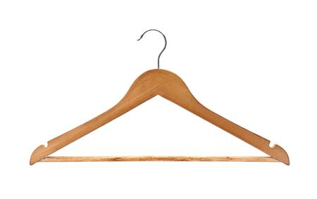 wood hanger isolated on white background photo