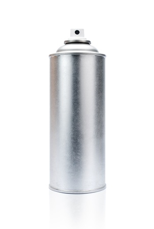 blank aluminum spray can isolated on white background photo