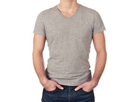 young man wearing blank gray t-shirt isolated on white background photo
