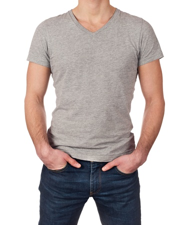 Grey t-shirt on a young man isolated on white background with copy space