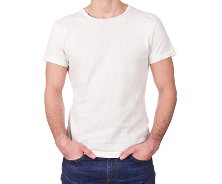 young man wearing blank white t-shirt isolated on white background  Stock Photo