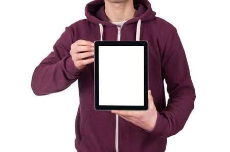 young man holding blank digital tablet photo