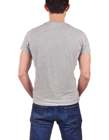 back view of young man wearing blank gray t-shirt isolated on white background