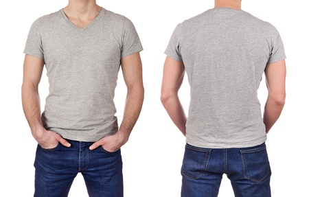 t short: Front and back view of young man wearing blank gray t-shirt isolated on white background