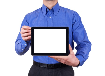 man holding blank digital tablet with copy space and clipping path for the screen