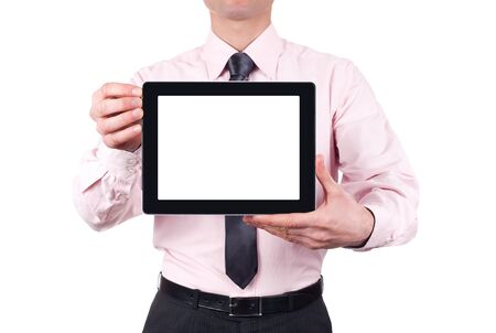 man holding blank digital tablet with copy space and clipping path for the screen  isolated on white background photo