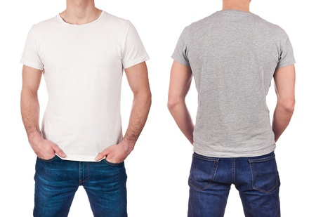 Front and back view of young man wearing blank white and gray t-shirt isolated on white background
