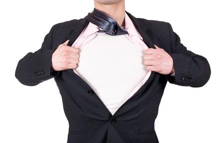 leiterin: Mann benimmt sich wie ein Superheld und �ffnet sein Hemd isoliert auf wei�em Hintergrund Lizenzfreie Bilder