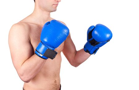 Young boxer  fighter with blue gloves isolated on  white background