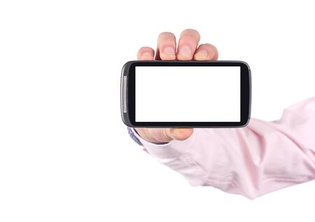 hand holding blank mobile smartphone with clipping path for the screen isolated on white background