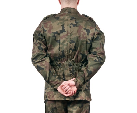 back view of soldier isolated on white background
