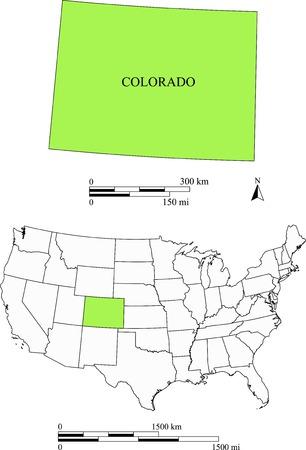 Colorado kaart Stock Illustratie