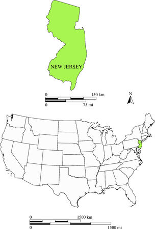 New Jersey kaart Stock Illustratie