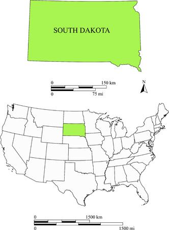 South Dakota map Çizim